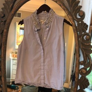 J. Crew Tops - Button up jcrew too with jeweled collar